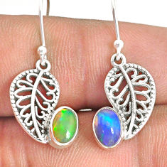 2.73cts natural multi color ethiopian opal silver deltoid leaf earrings r76297