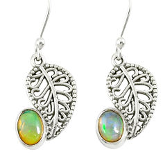 2.72cts natural multi color ethiopian opal silver deltoid leaf earrings r76703