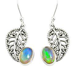 2.73cts natural multi color ethiopian opal silver deltoid leaf earrings r76717