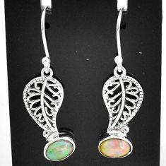 3.13cts natural multi color ethiopian opal silver deltoid leaf earrings t5932