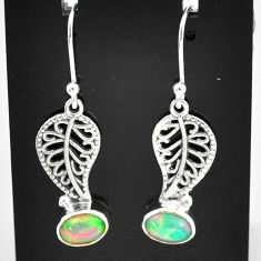 2.93cts natural multi color ethiopian opal silver deltoid leaf earrings t5934