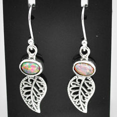 3.13cts natural multi color ethiopian opal silver deltoid leaf earrings t5935