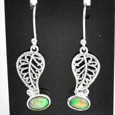 3.14cts natural multi color ethiopian opal silver deltoid leaf earrings t5936