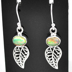 2.93cts natural multi color ethiopian opal silver deltoid leaf earrings t5938