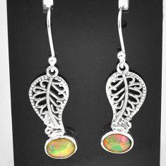 3.13cts natural multi color ethiopian opal silver deltoid leaf earrings t5939