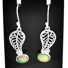 2.93cts natural multi color ethiopian opal silver deltoid leaf earrings t5941