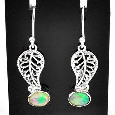 2.95cts natural multi color ethiopian opal silver deltoid leaf earrings t5943