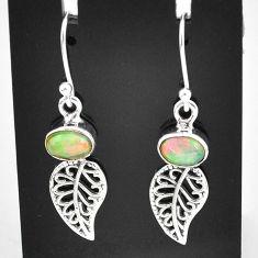 2.72cts natural multi color ethiopian opal silver deltoid leaf earrings t5944