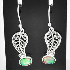 2.93cts natural multi color ethiopian opal silver deltoid leaf earrings t5945
