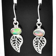 2.94cts natural multi color ethiopian opal silver deltoid leaf earrings t5946