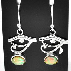 3.06cts natural multi color ethiopian opal silver deltoid leaf earrings t5948