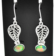 3.13cts natural multi color ethiopian opal silver deltoid leaf earrings t5949