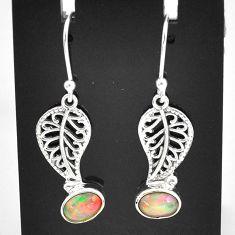 3.14cts natural multi color ethiopian opal silver deltoid leaf earrings t5974