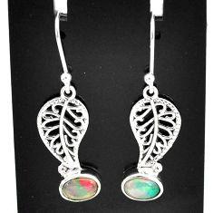 2.93cts natural multi color ethiopian opal silver deltoid leaf earrings t5977