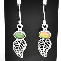 2.89cts natural multi color ethiopian opal silver deltoid leaf earrings t5978