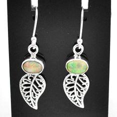 3.31cts natural multi color ethiopian opal silver deltoid leaf earrings t5983