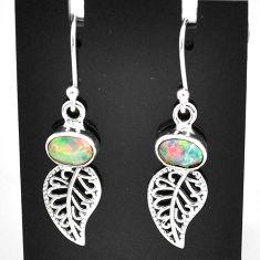 3.10cts natural multi color ethiopian opal silver deltoid leaf earrings t5984