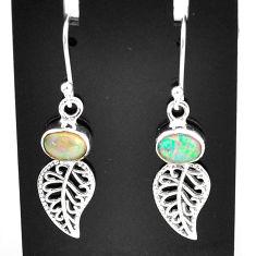 3.24cts natural multi color ethiopian opal silver deltoid leaf earrings t5985