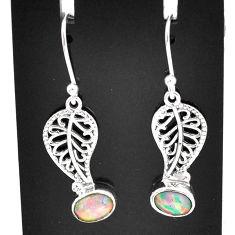 3.10cts natural multi color ethiopian opal silver deltoid leaf earrings t5987