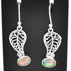 3.10cts natural multi color ethiopian opal silver deltoid leaf earrings t5988
