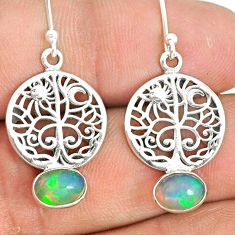 3.13cts natural multi color ethiopian opal silver tree of life earrings r76244