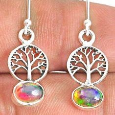 2.44cts natural multi color ethiopian opal silver tree of life earrings r76246