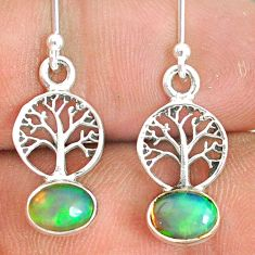 2.46cts natural multi color ethiopian opal silver tree of life earrings r76249