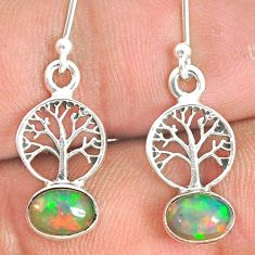 2.71cts natural multi color ethiopian opal silver tree of life earrings r76255