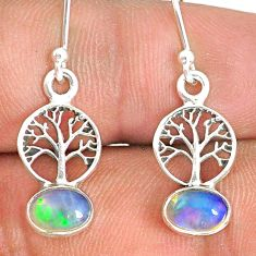 2.46cts natural multi color ethiopian opal silver tree of life earrings r76282