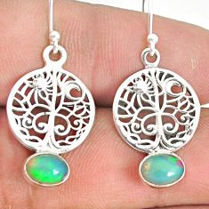 2.96cts natural multi color ethiopian opal silver tree of life earrings r76287