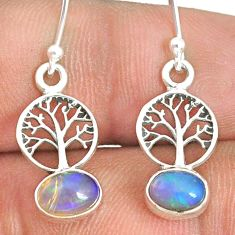 2.68cts natural multi color ethiopian opal silver tree of life earrings r76290