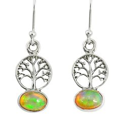 3.40cts natural multi color ethiopian opal silver tree of life earrings r76706