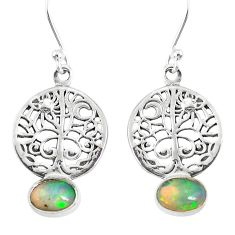 3.05cts natural multi color ethiopian opal silver tree of life earrings r76713