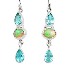 9.38cts natural multi color ethiopian opal topaz 925 silver earrings r47545