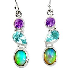 9.99cts natural multi color ethiopian opal topaz 925 silver earrings r50995