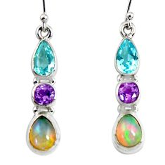 9.56cts natural multi color ethiopian opal topaz silver dangle earrings r51015