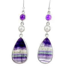 18.14cts natural multi color fluorite amethyst 925 silver dangle earrings d39561