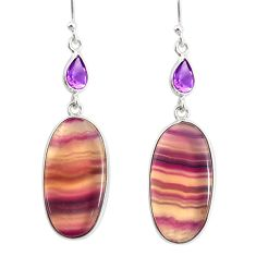 22.14cts natural multi color fluorite amethyst 925 silver dangle earrings r86747