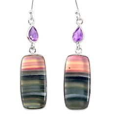 21.44cts natural multi color fluorite amethyst 925 silver dangle earrings r86749