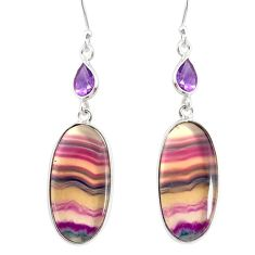 21.44cts natural multi color fluorite amethyst 925 silver dangle earrings r86750