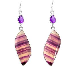 24.61cts natural multi color fluorite amethyst 925 silver dangle earrings r86842