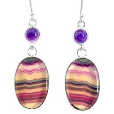 27.81cts natural multi color fluorite amethyst 925 silver dangle earrings r86843