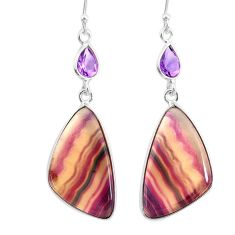 22.69cts natural multi color fluorite amethyst 925 silver dangle earrings r86846