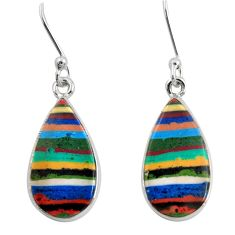 Clearance Sale- 10.65cts natural multi color rainbow calsilica 925 silver dangle earrings d39516