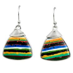 12.99cts natural multi color rainbow calsilica 925 silver dangle earrings r28845