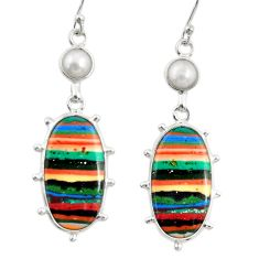 13.60cts natural multi color rainbow calsilica 925 silver dangle earrings r28847