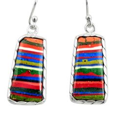 11.69cts natural multi color rainbow calsilica 925 silver dangle earrings r28853