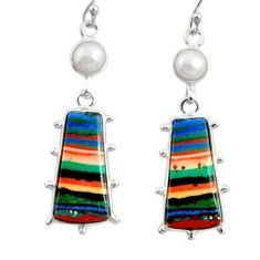 13.54cts natural multi color rainbow calsilica 925 silver dangle earrings r28854