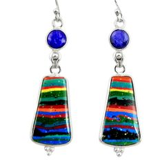 13.52cts natural multi color rainbow calsilica 925 silver dangle earrings r28857