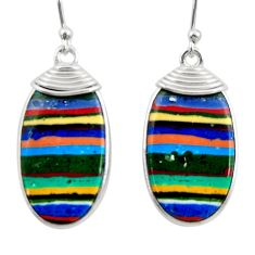 11.93cts natural multi color rainbow calsilica 925 silver dangle earrings r28858